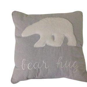 CUSHION + INSERT POLAR BEAR HUG GREY | embroidery
